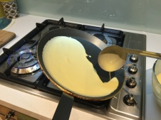 Let the mix flow down while moving the pan in circular motion